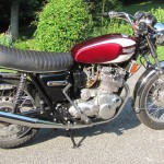 Triumph Trident T160 - 1975 - Engine and Gearbox, Kick Start, Oil Tank, Timing Cover, Reflector and Exhaust.