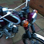 Yamaha FS1E - 1975 - Popsicle Purple, Fizzy, Headlight, Indicators, Forks and Engine.