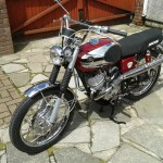 Bridgestone Mach11 -1969 - Headlight, Handlebars, Front Mudguard, Forks, Brake Plate, Gas Tank and Cap.
