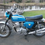 Honda CB750 K0 - 1970 - Left Side View, Silencers, Exhaust, Seat, Tank and Side Panels.