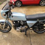 Kawasaki Z1-R - 1978 - Left Side View, Seat, Motor, Stands, Flashers, Handlebars and Grips.