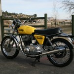Norton Commando -1975 - Muffler, Seat, Rear Shock Absorber, Rear Wheel and Fender.