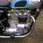Triumph Trophy TR6 - 1968 - Engine and Gearbox, Amal Carburettor, Gear Lever, Knee Pad and Triumph Badge.