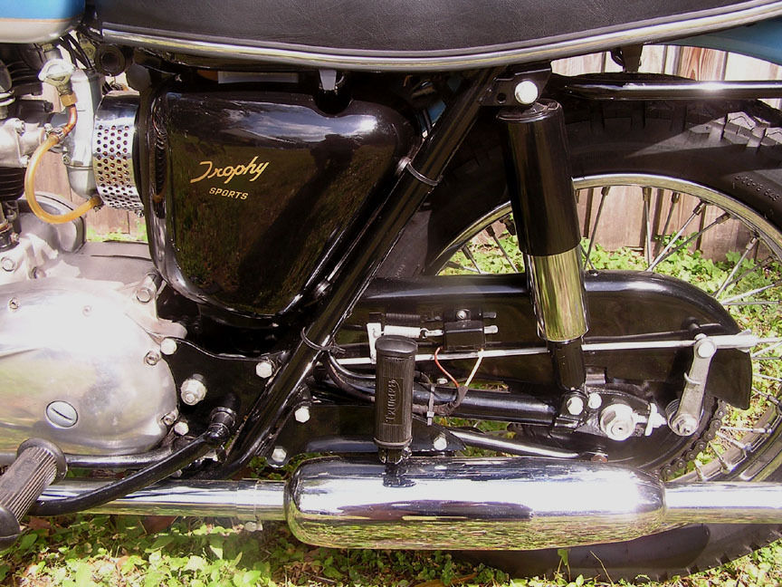 Triumph Trophy TR6 - 1968 - Rear Footrest, Chain Adjuster and Swinging Arm.