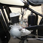 BSA Bantam - 1953 - Motor and Transmission, Rear Brake Pedal, Carburettor, Seat Spring and Toolbox.