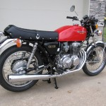 Honda 400 Four - 1976 - Rear Wheel, Main Stand, Petrol Tank and Handlebars.