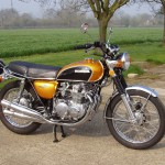 Honda CB500 Four - 1971 - Right Side View, Exhaust System, Mudguards, Wheels, Brakes and Tyres.