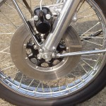 Honda CB500 Four - 1971 - Front Brake, Disc, Wheel, Spokes and Fork Lower.