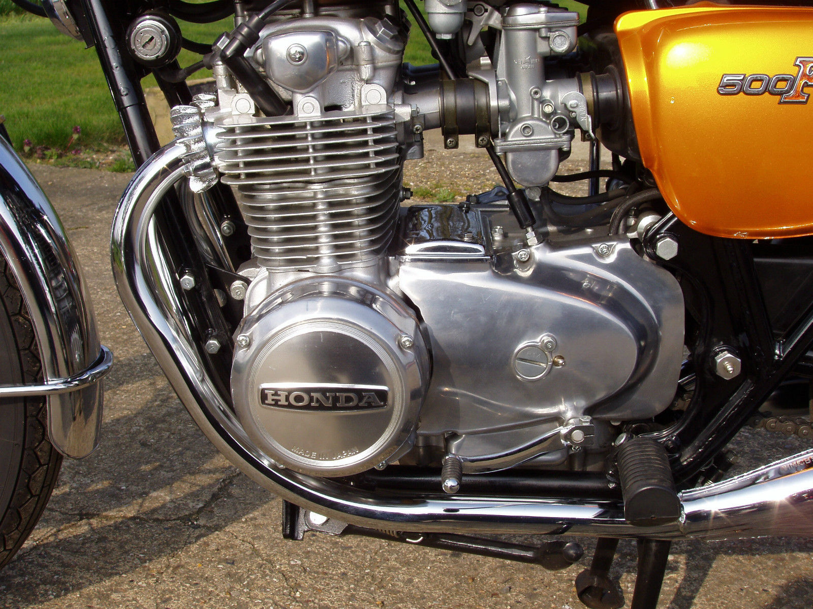 Honda CB500 Four - 1971 - Motor and Transmission, Chain Cover, Alternator, Ignition Switch and Frame.