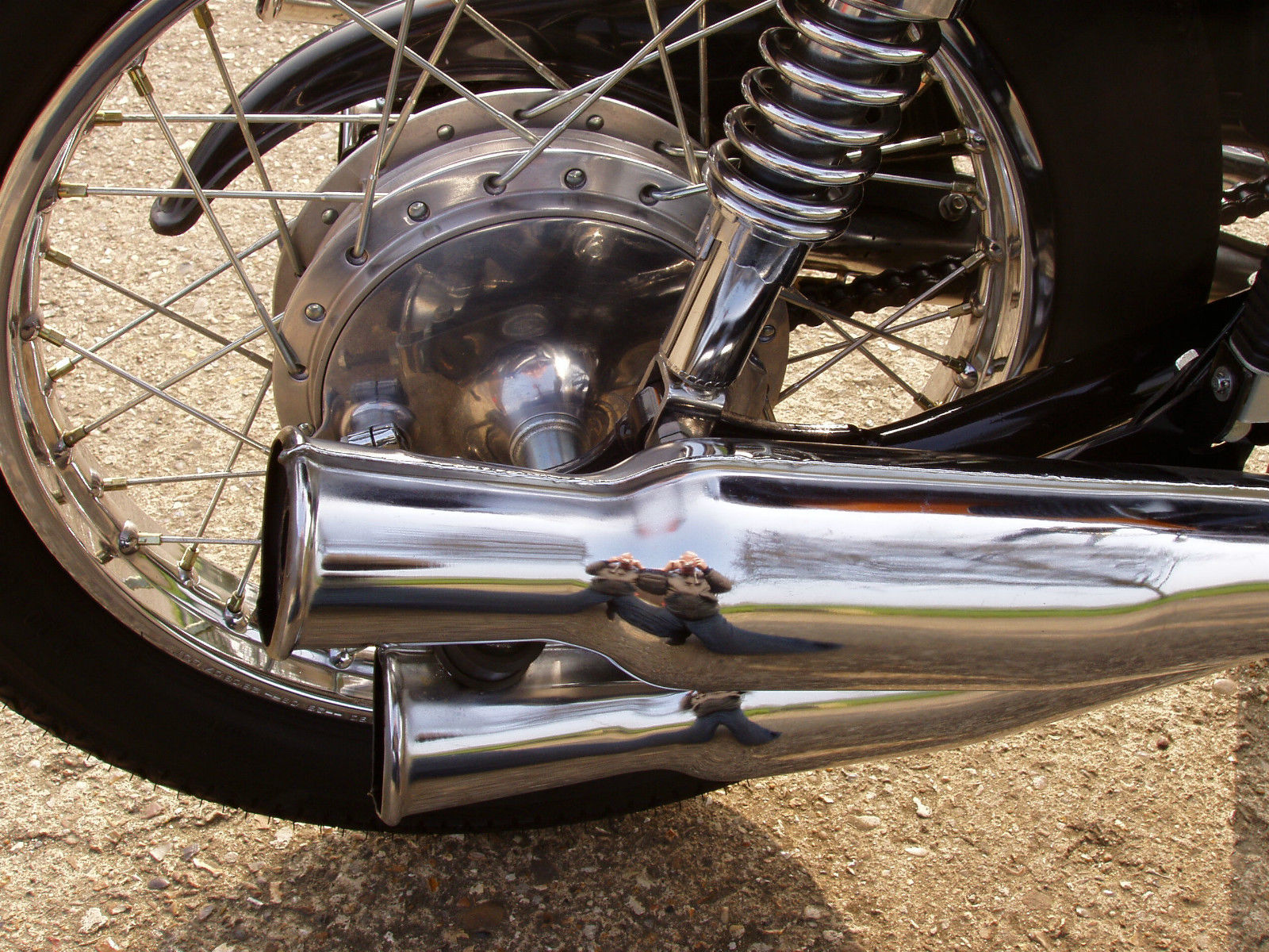 Honda CB500 Four - 1971 - Rear Brake, Shock Absorber and Exhausts.