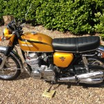 Honda CB750 K1 - 1970 - Left Side View, Frame and Forks, Exhaust, Grab Handle, Engine, Indicators and Honda Badge,