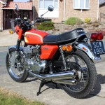Suzuki GT380 - 1973 - Seat, Rear Mudguard, Silencers. Grab Rail and Rear Light.