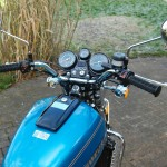 Suzuki GT750 - 1976 - Clocks, Petrol Tank, Handlebars and Grips.