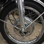 Suzuki GT750J - 1972 - Front Wheel, Leading Shoe Front Brake, Stainless Spokes and Wheel Rim.