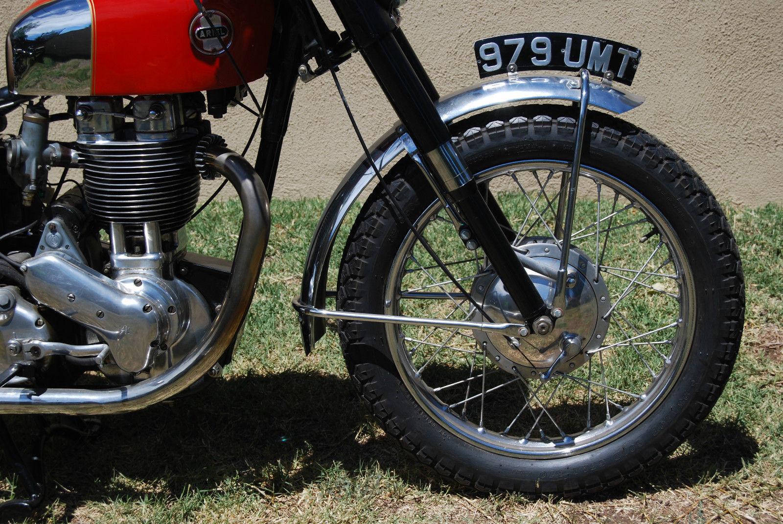 Ariel HS - 1957 - Front Wheel, Front Forks, Fender, Number Plate and Brake Plate.