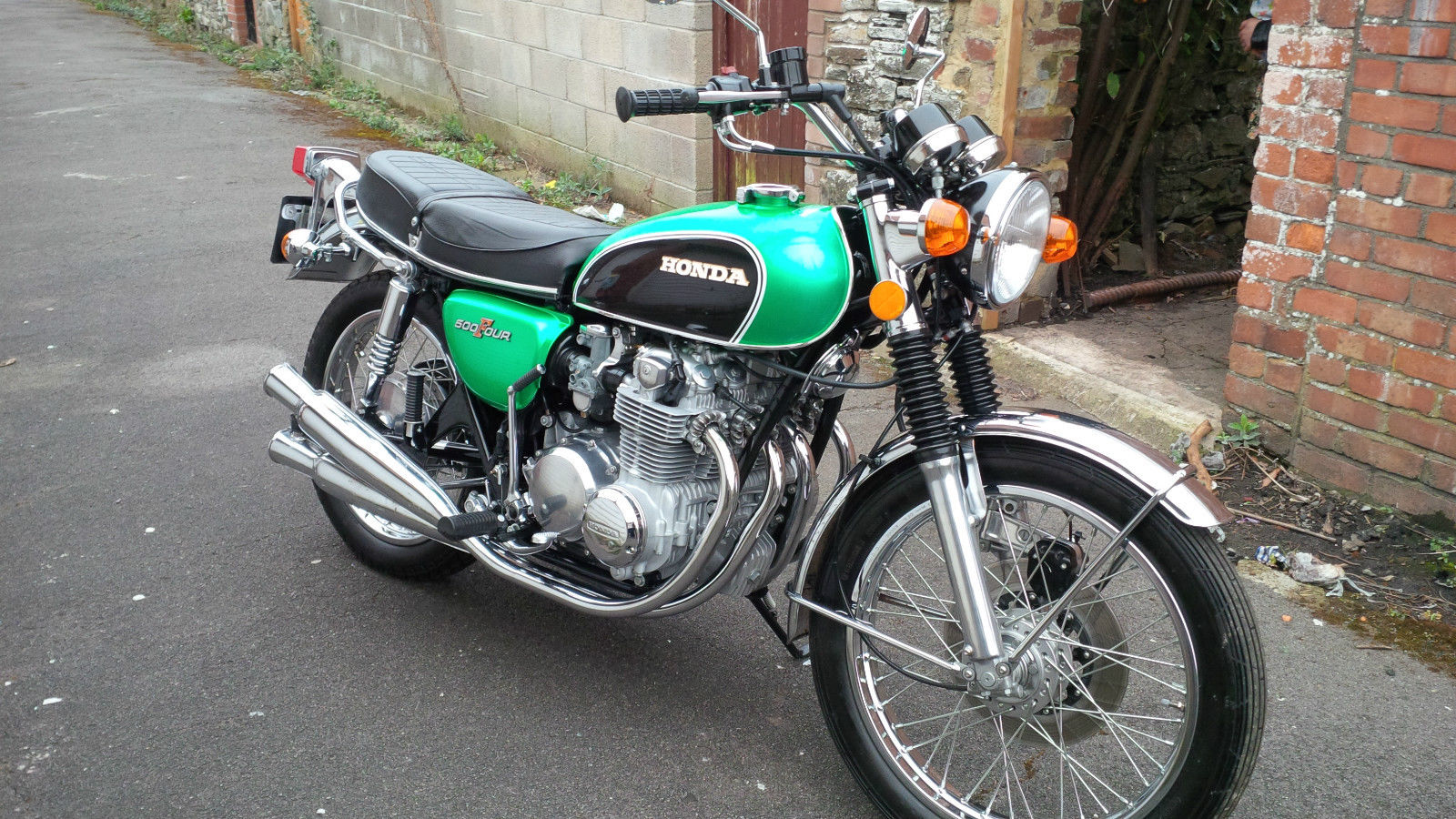 Honda CB500 Four - 1972 - Right Side View, Wheels, Brakes and Tyres, Forks, Frame, Headlight, Clocks, Mirrors, Exhausts and Kick Start.
