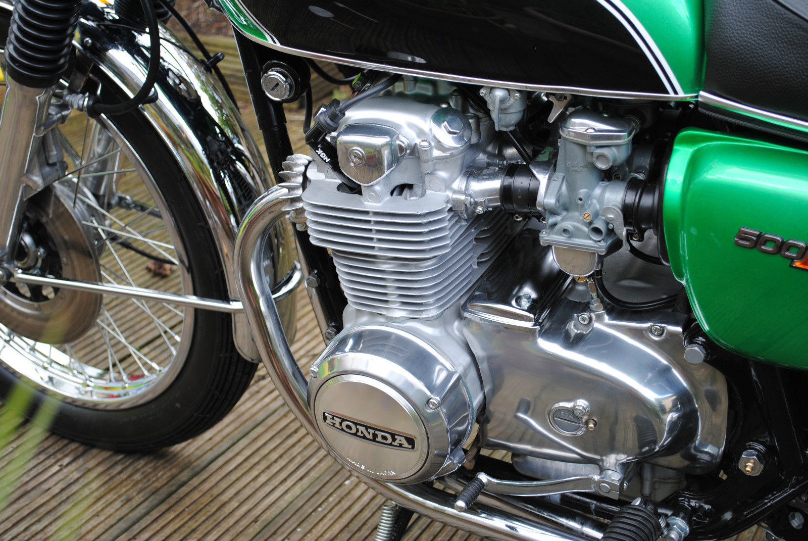 Honda CB500 Four - 1972 - Engine and Gearbox, Front Sprocket Cover, Cylinder Head and Barrels.