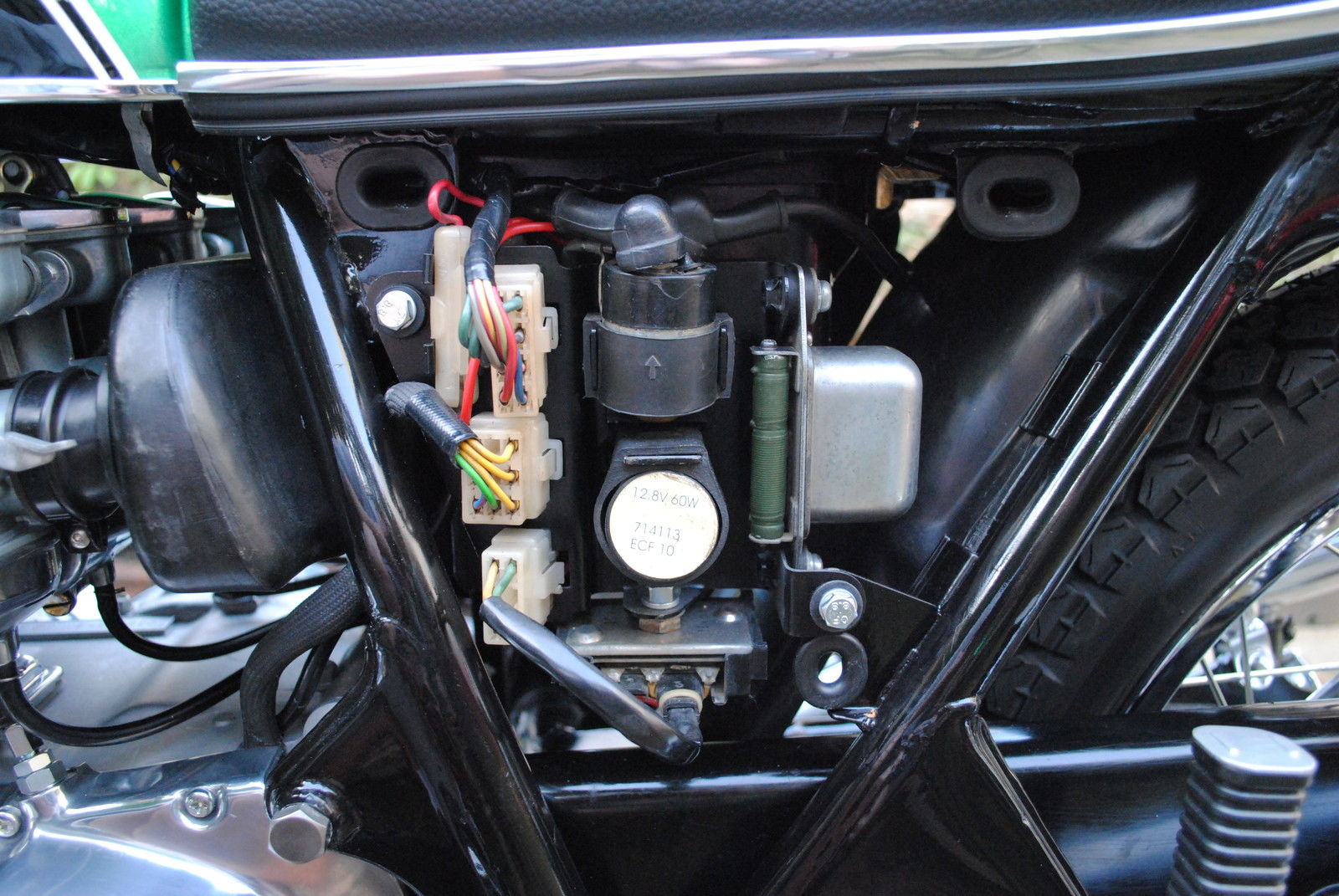 Honda CB500 Four - 1972 - Electrics, Wiring, Starter Relay, Regulator and  Rectifier .