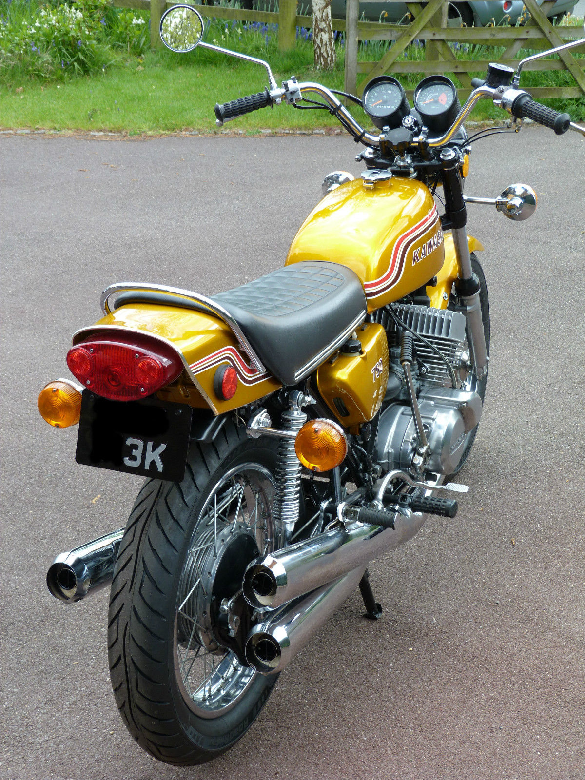 Kawasaki H2 750 - 1972 - Rear View, Tail Piece, Number Plate, Rear Wheel, Shock Absorbers and Indicators.