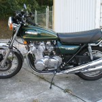 Kawasaki KZ900 - 1976 - Left Side View, Reproduction Exhaust System and Frame.