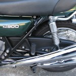Kawasaki KZ900 - 1976 - Chain Cover, Shock Absorber, Mufflers and Swing Arm.