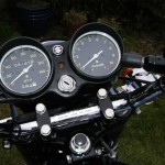 Suzuki GT550 - 1973 - Speedo and Tacho, Clocks, Handlebars, Ignition Switch and Lights.