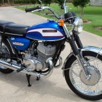 Suzuki T500 - 1973 - Right Side View, Mufflers, Exhaust, Stand and Flashers.