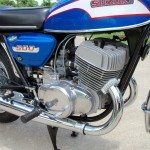 Suzuki T500 - 1973 - Motor and Transmission, Footrest, Frame, Engine Cases and Oil Tank.