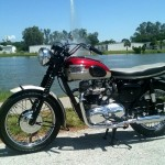 Triumph Bonneville - 1962 - Left Side View, Knee Pads, Triumph Tank Badge, Seat Cover, Forks and Cables.