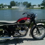 Triumph Bonneville - 1962 - Right Side View, Frame and Forks, Petrol Tank, Silencers, Shocks, Fenders and Wheels.