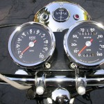 Triumph Bonneville - 1970 - Clocks, Speedo and Tacho, Ammeter, Warning Lights, Headlight and Handlebars.