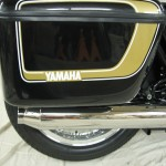 Yamaha XS650 - 1975 - OEM Panniers, Muffler and Yamaha Decal.