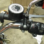 Yamaha XS650 - 1975 - Engine Kill Switch, Master Cylinder, Start Button and Mirror.
